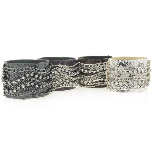 Crystal Chain Leather Cuff Bracelet PURPLE