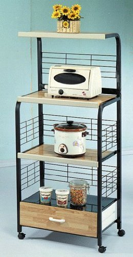 Microwave Stand with Outlet in Black (Microwave Cart Grounded compare prices)