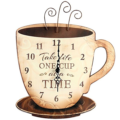 Take Life One Cup At A Time Espresso Coffee Wooden Wall Clock Kitchen Decor (Coffee Kitchen Clock compare prices)