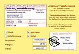Einladungskarten zum Geburtstag Motiv: Krankenschein Krankmeldung 18 20 30 40