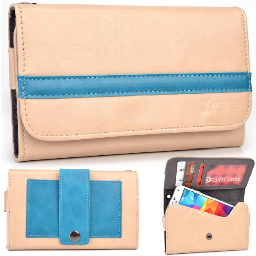 Exxist® Graphite Series. Faux Leather Clutch / Wallet For Archos 43 Internet (Color: Beige / Baby Blue Stripe) -Esmlgpn3