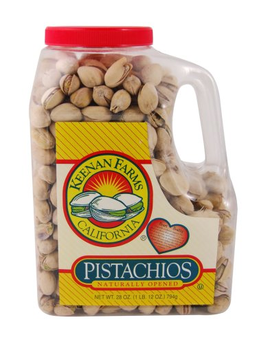 Keenan Farms In-Shell Pistachio, Naturally Tree Opened, Roasted with Sea Salt,  28-Ounce Jars (Pack of 2)