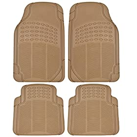 Custom Auto Crews - Heavy Duty 4pc Front & Rear Rubber Mats - All Weather Protection - Universal Car Truck SUV - Beige