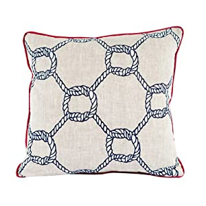 Room Service Nautical Collection Nautical Rope Pillow, 20-inch x 20-inch, Oatmeal Linen/ Red/ White/ Navy Blue