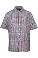 MENS SHORT SLEEVE SHIRT TATTERSALL COUNTRY CHECK BLUE OR GREEN