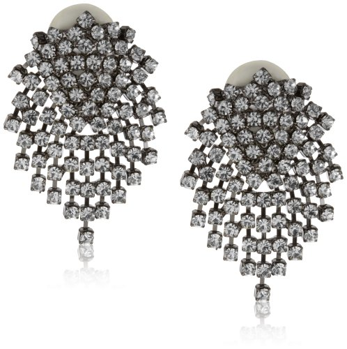 Kenneth Jay Lane Crystal-Color and Gunmetal Cluster Earrings