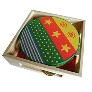 Toy Tambourine - presented in wooden box (15cm diameter)