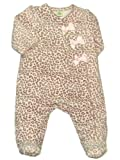 Little Me Baby-Girls Newborn Leopard Bow Velour Footie, Pink Print, 3 Months