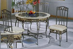 com 5pc wrought iron antique silver dining room table chairs set
