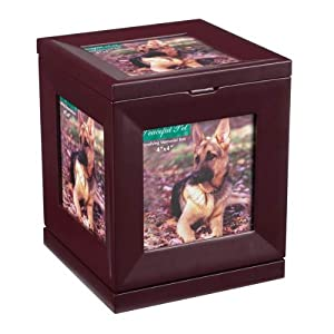 Peaceful Pet Revolving Memorial Box, Mahogany