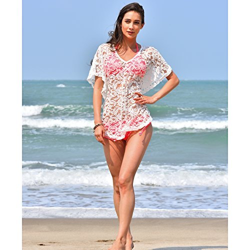 2394652b91 MG Collection Woven White Lace V Neck Fashion Swimwear Cover Up   Beach Top