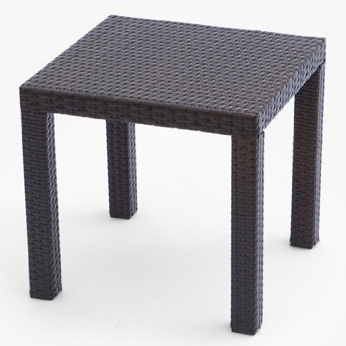 RST Brands OP-PEST2020 Side Table in Espresso Rattan Patio Furniture, 20-Inch by 20-Inch picture