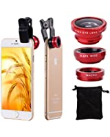 XCSOURCE® Universal Kit Objectif fish-eye à 180° + Objectif grand angle + Objectif Micro pour iPhone 4S 6 4 6 Plus 4G 5 5G 5S 5C 3GS Samsung GALAXY S2 I9100 S3 I9300 S4 I9500 S5 I9600 Note I9220 Note2 N7100 Note3 S3 mini i8190 S7562 HTC DC264R