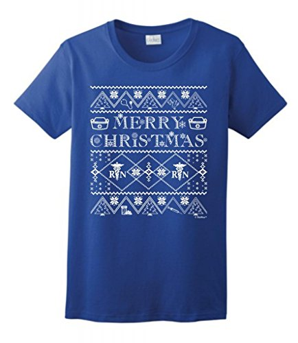 Ugly Christmas Sweater For Nurses Ladies T-Shirt Large Royal