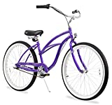 Firmstrong Urban Lady Three Speed Beach Cruiser Bicycle, Purple, 15.5 inch / Large