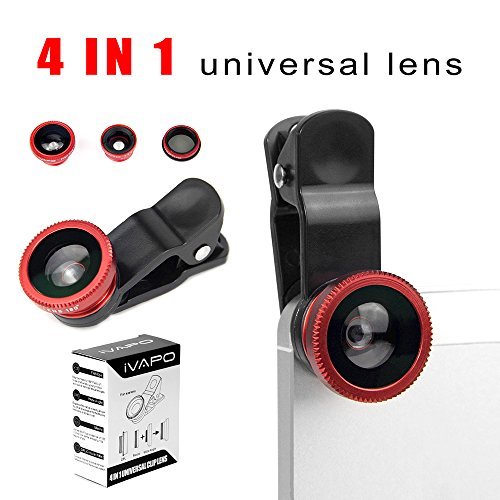 Ivapo Universal 4 In 1 Camera Lens Kit For Smart Phones (Iphone 4S 5S 5C, Samsung Galaxy S5 Note 2 Note3, Sony Z1 Z2), Samsung Tab , Ipad Air Mini 4 3 2, Laptops One Fish Eye Lens One 2 In 1 Macro Lens And Wide Angle Lens One Cpl Lens One Universal Clip O