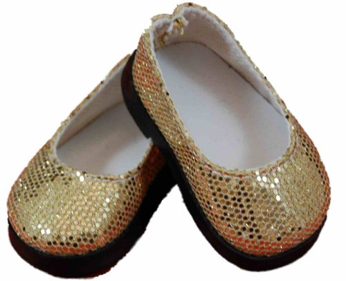 "18"" Doll Shoes Clothing Accessory For American Girl®, High Quality Gold Glitter Slip On & Shoe Box"