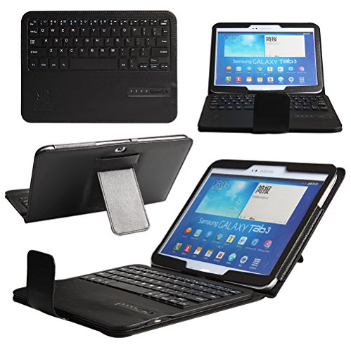 Boriyuan Ultra Portable Removable Detachable Wireless Bluetooth Abs Keyboard Carrying Case Flip Folding Protective Pu Leather Cover With Viewing Stand Holder Function Universal For Samsung Galaxy Tab 3 10.1 Inch P5200 P5210 P5213 And Samsung Galaxy Tab 4