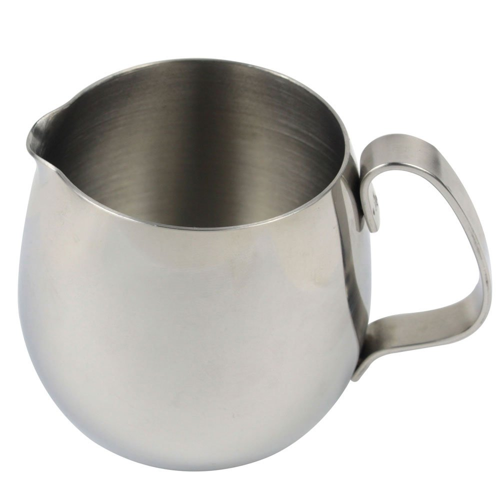 Leegoal(TM) Thicken Stainless Steel Drum Milk Cup Frothing Pitcher (Silver, 300ml)