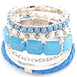 Shining Diva Fashion Pearl Multilayer Leather Rope Charms Bracelets For Girls