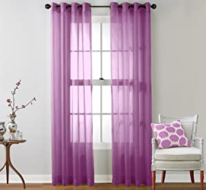 hlc me 2 piece sheer window curtain grommet