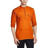 Svanik Men's Waist Long Cotton Kurta (SVCK1534_Medium_Orange)