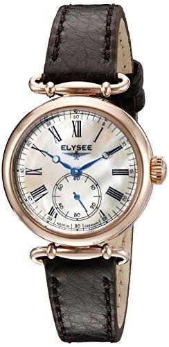 Elysee Cecilia Femme 30mm Noir Cuir Bracelet Minéral Verre Montre 38024