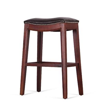 DZW Taburetes de cocina retro con taburetes altos de madera maciza Barra de desayuno de asiento de PU, soporte de madera maciza, altura 60cm-65cm para barra de cocina , 1 Suave y fuerte