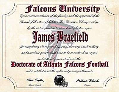 "Atlanta Falcons Ultimate Fan Personalized Diploma - Perfect Gift - 8.5"" x 11"" Parchment Paper"