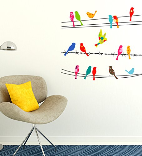 Decals Design Wall Stickers Colorful Printed Birds Sitting On Cable Wires sofa Background (PVC Vinyl, 60 x 45 cm, Multicolor)  available at amazon for Rs.169