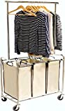 DecoBros Heavy-Duty 3 Bag Laundry Sorter Cart with Hanging Bar