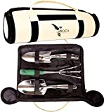 Garden Tools Set with Trowel, Transplanter and Rake by ROCA Home. Great Gardening Gifts. Storage Garden Bag and Gardening Guide Included.