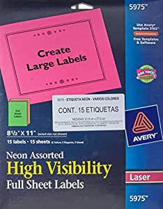 """Avery Neon Laser Labels, Rectangle, Assorted Fluorescent Colors, 8-1/2"""" x 11"""", 15/Pack (5975)"""
