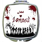 Rikki KnightTM Jabel Loves Zombies on Red Grunge Personalized with Name Design Compact Mirror