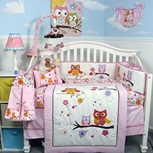 Pink 14 Piece Dancing Owl Baby Crib Bedding Set by SoHo Designs