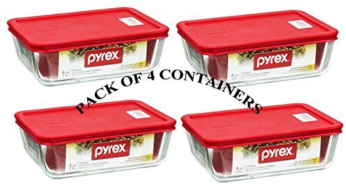 PYREX Containers Simply Store 6-cup Rectangular Glass Food Storage Red Plastic Covers ... (Pack of 4 Containers) (Glass Freezer Cup compare prices)