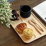 天然木製 2タイプ 仕切り付き プレートランチトレー ナチュナル お菓子ケーキティー コーヒートレー 木製皿 杉 四角 A-type,Free
