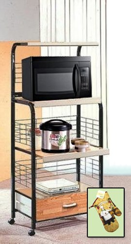 New Black Kitchen Rolling Microwave Cart With Power Strip Includes Free Oven Mitt!