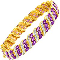 Finecraft 7 3/4 ct Amethyst Bracelet with Diamonds Brass