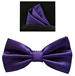 Tieworld Men\'s Formal Tuxedo Banded Pre-Tied Bow Tie Set (One Size, Purple)