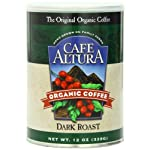 Cafe Altura Organic Coffee, Dark Roast, Ground, 12-Ounce Can (Pack of 3)