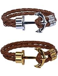 Outdazzle Brown Rope ANCHOR Men Bracelet - Set Of 2