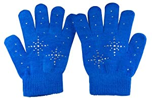 Fashion Every Day Girls Ice Skating Gloves /Magic Stretch Gloves with Clear Rhinestones Snow Flakes (Blue)
