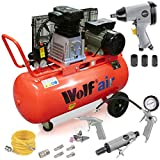 Wolf Dakota 90 Litre, 3HP, 14CFM, 240v, MWP 150psi, 10BAR Twin Cylinder Pump Belt Driven Air Compressor Complete with 25 Piece Air Took Kit POWAIR0021