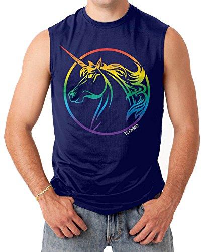 Sixtion Rainbow Unicorn - Gay And Lesbian Pride Men's SLEEVELESS T-shirt Tee Medium