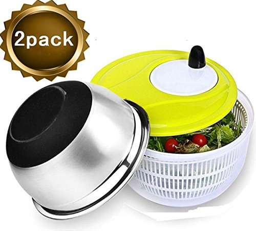 Salad Spinner,Suitable for Salad,Greens,Vegetables,Fruit,Lettuce-Plus A Stainless Steel Salad Bowl