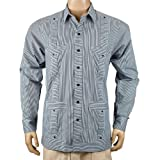 Deluxe Long Sleeve White-Black Stripped Guayabera