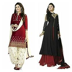 Sky Global Women's Printed Unstitched Regular Wear Salwar Suit Dress Material (Combo pack of 2)(SKY_DC_5007)(SKY_501_RED)(Dress_220_FreeSize_Black)