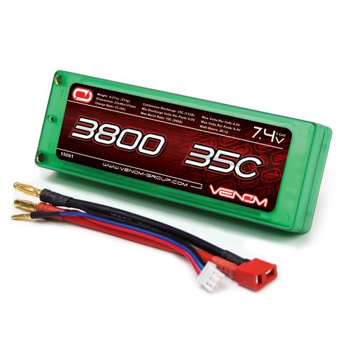 Venom 35C 2S 3800mAh 7.4 Hard Case LiPO Battery ROAR Approved with UNI Plug