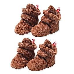 2 Pairs of Cozie Fleece Booties by Zutano - Chocolate - 12 Mths / 15-20 Lbs / 25-29\
